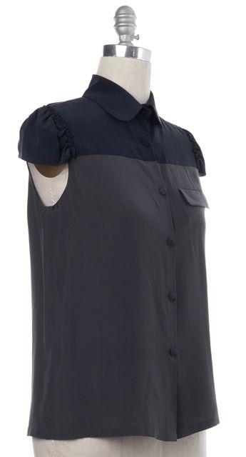 ALEXANDER WANG Gray Blue Colorblock Silk Cap Sleeve Button Down Shirt Top