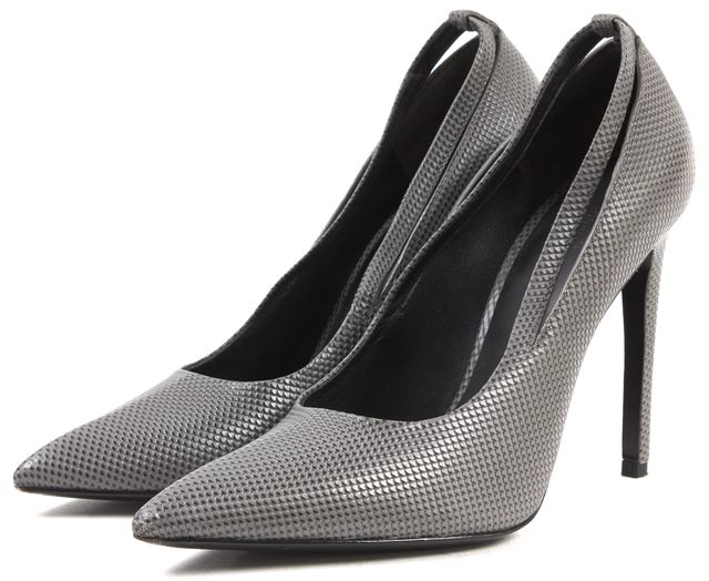 ALEXANDER WANG Gray Textured Leather Pointed Toe Pumps