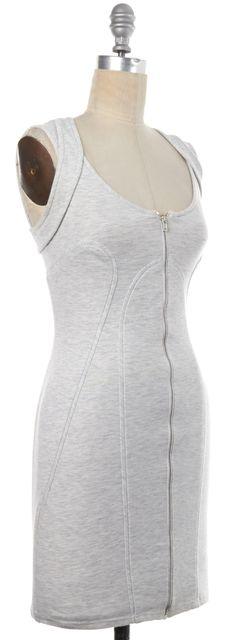 ALEXANDER WANG Light Heather Gray Silver Zip Up Stretch Dress