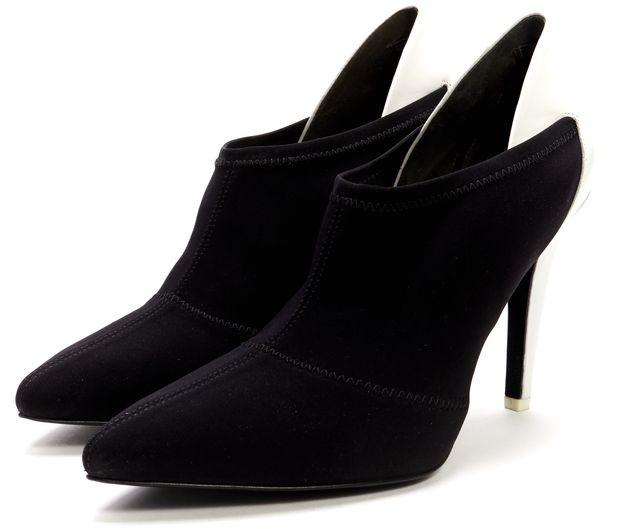 ALEXANDER WANG Black White Neoprene Leather Juli Ankle Booties