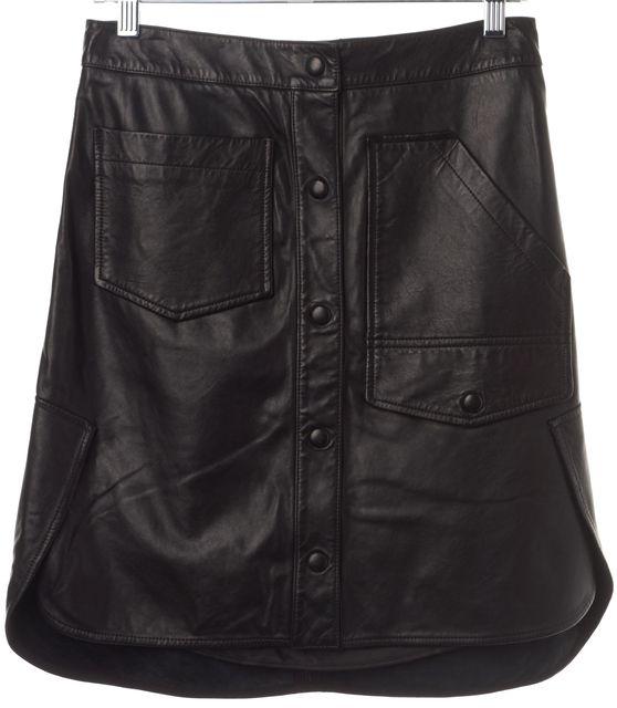 ALEXANDER WANG Black Leather Front Pocket Skirt
