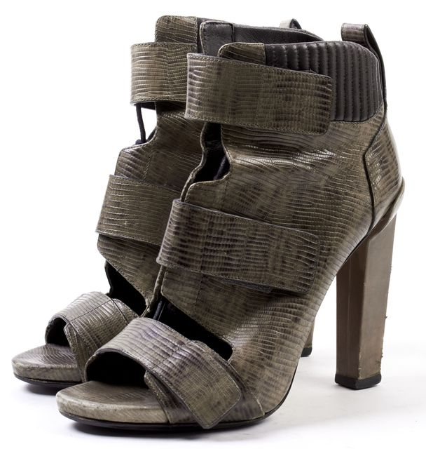 ALEXANDER WANG Brown Snake Embossed Leather Open Toe Bootie Platform Heels