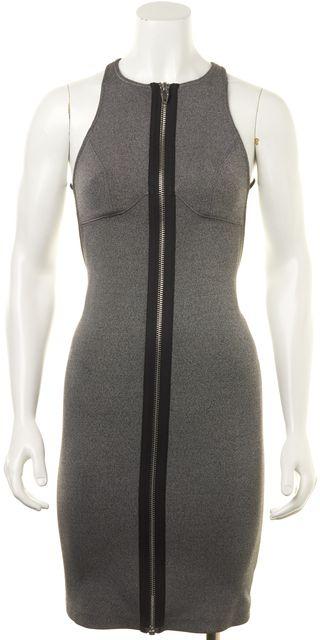 ALEXANDER WANG Black White Gray Casual Plunge Back Zip-Up Sheath Dress