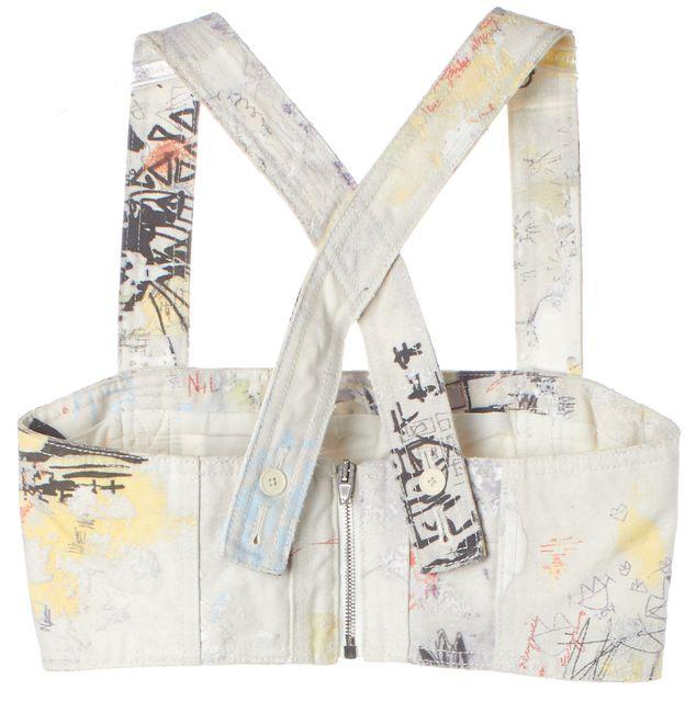 ALEXANDER WANG Ivory Yellow Graffiti Distressed Denim Cropped Top