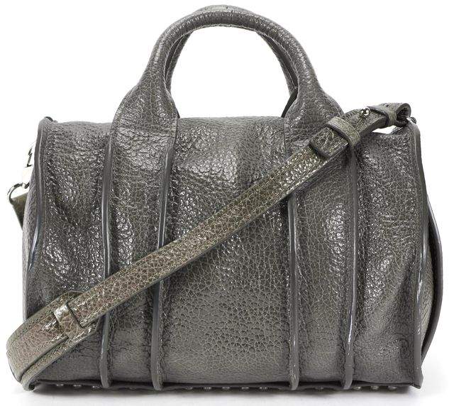ALEXANDER WANG Gunpowder Silver Rhodium Inside-Out Rocco Zip Satchel Bag