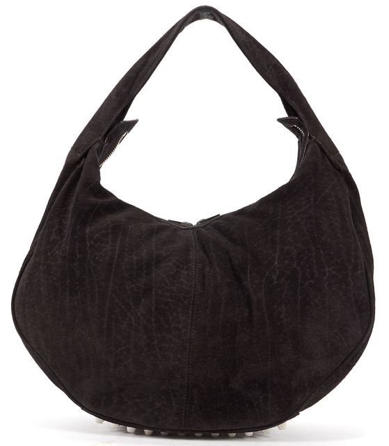 ALEXANDER WANG Espresso Black Suede Silver Stud Hobo Shoulder Bag