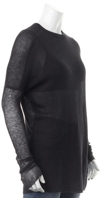 ALEXANDER WANG Black Ribbed Silk Sheer Asymmetrical Crewneck Sweater