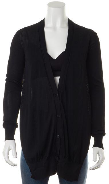 ALEXANDER WANG Black Long Front Sheer Knit Cardigan