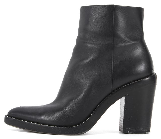 ALEXANDER WANG Black Leather Block Heel Pointed Toe Ankle Boots