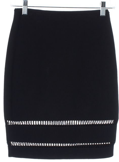 ALEXANDER WANG Black Net Trim Above Knee Pencil Skirt