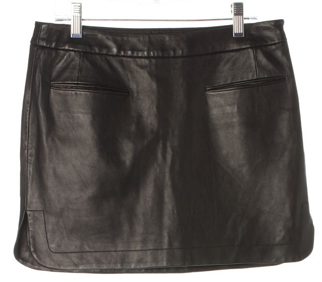 ALEXANDER WANG Black Leather Pocket Front Mini Straight Skirt