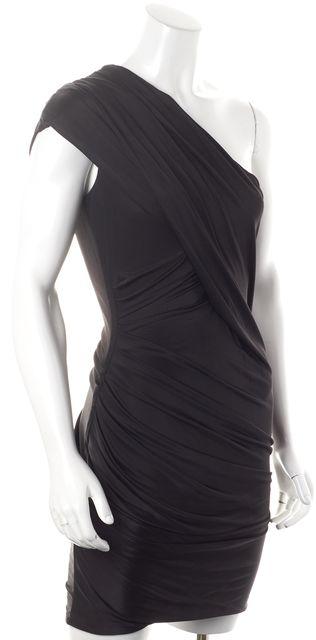ALEXANDER WANG Black One Shoulder Draped Above Knee Bodycon Dress