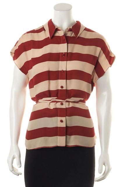 ALEXANDER WANG Red Beige Striped High-Low Silk Blouse Top