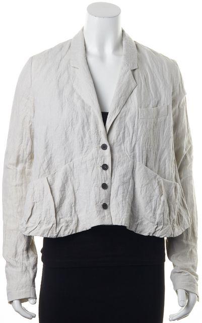 ALEXANDER WANG Ivory Crinkle Textured Cotton Linen Blazer