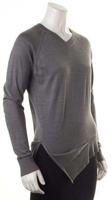 ALEXANDER WANG Gray Silk V-Neck Slit Sweater