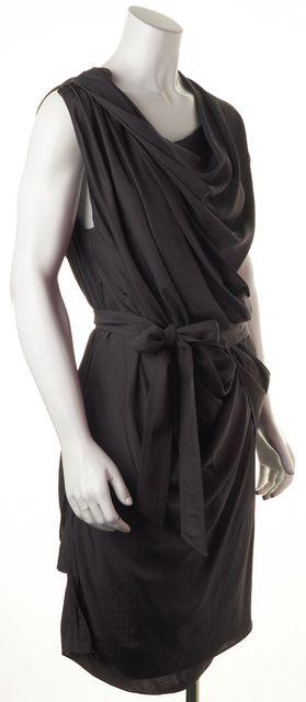 ALEXANDER WANG Gray Draped Waist Tie High-Low Hem Sleeveless Sheath Dress