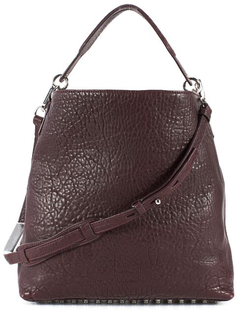 ALEXANDER WANG Purple Pebbled Lambskin Leather Darcy Studded Satchel
