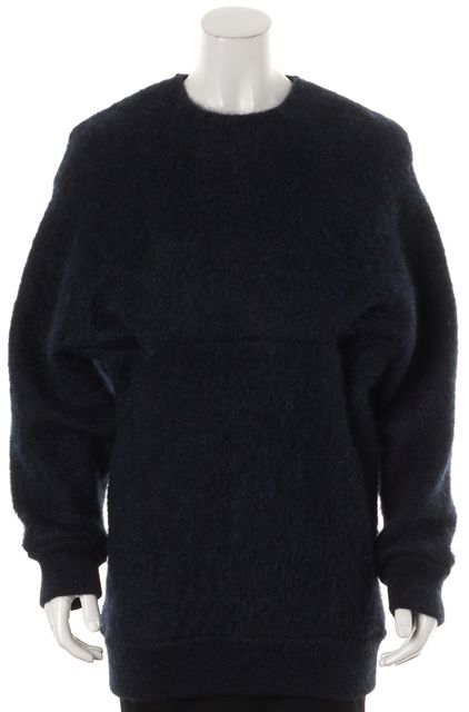 ALEXANDER WANG Navy Blue Wool Crewneck Back Zipped Sweater