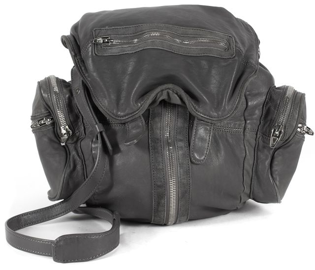 ALEXANDER WANG Smoke Gray Leather Marti Backpack Convertible Shoulder Bag