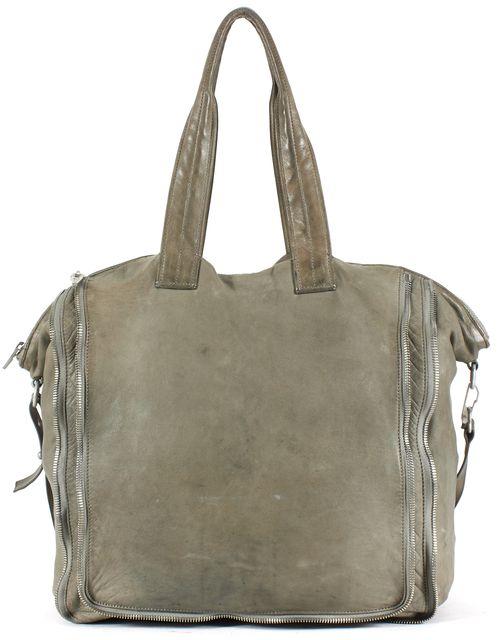 ALEXANDER WANG Green Leather Multi Zip Satchel Tote Bag