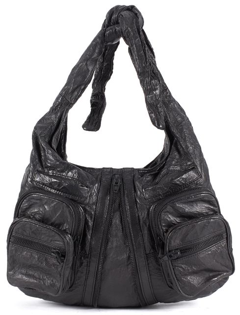 ALEXANDER WANG Black Zipper Detailed Genuine Leather Shoulder Bag