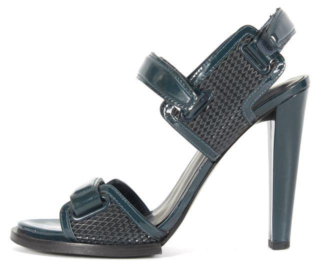 ALEXANDER WANG Dark Teal Blue Patent Leather Emina Sandal Heels
