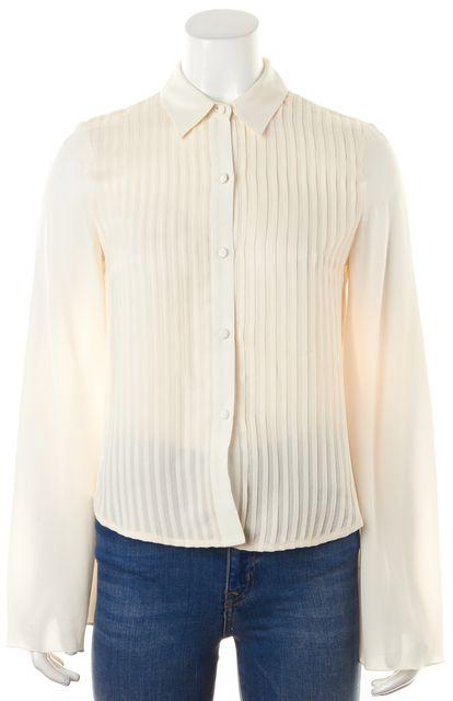 ALEXANDER WANG Ivory Crepe Silk Long Sleeve Cape Back Button Down Shirt