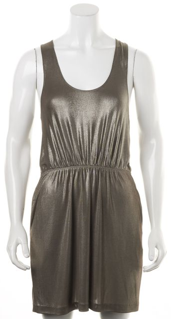 ALEXANDER WANG Metallic Taupe Brown Racerback Sleeveless Blouson Tank Dress