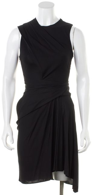 ALEXANDER WANG Black Solid Ruche Wrap Effect Sleeveless Sheath Dress