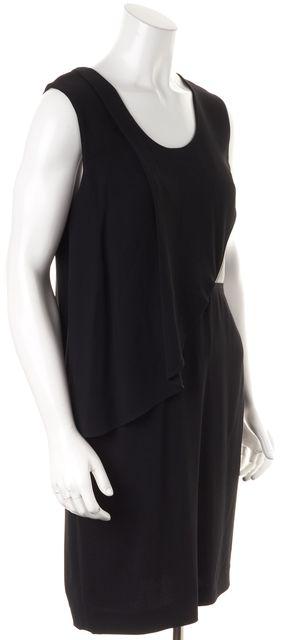 ALEXANDER WANG Black Leather Panel Faux Tiered Sheath Dress