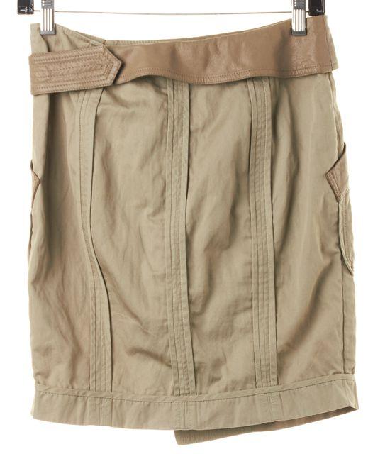 ALEXANDER WANG Khaki Cotton Leather Trim Above Knee Wrap Skirt