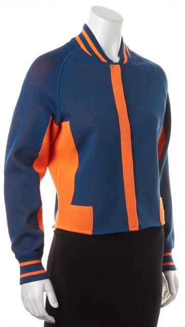 ALEXANDER WANG Blue Orange Color Block Snap Front Track Jacket