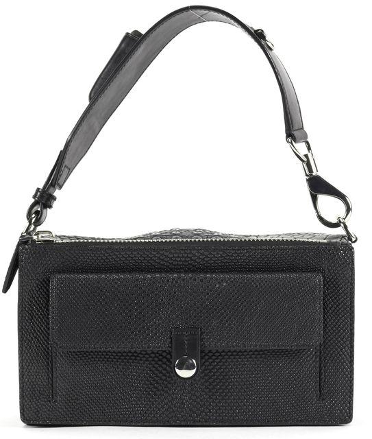 ALEXANDER WANG Black Crocodile Embossed Leather Top Handle Bags
