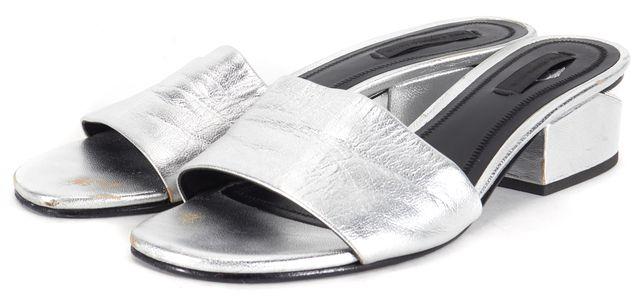 ALEXANDER WANG Silver Leather Lou Slip-On Sandal Heels