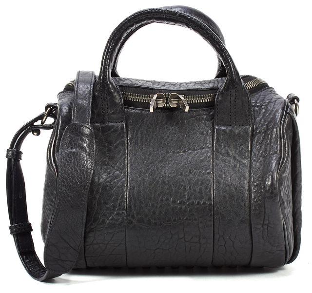 ALEXANDER WANG Black Pebbled Leather Rockie Crossbody Satchel Bag