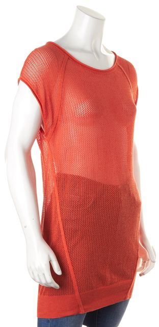 ALEXANDER WANG Orange Cap Sleeve Perforated Knit Top Size. L