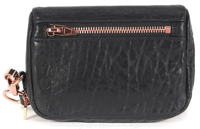 ALEXANDER WANG Black Pebbled Leather Rose Gold Hardware Fumo Wallet Wristlet