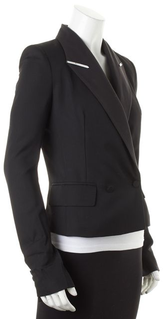 ALEXANDER WANG Black Wool Metal Embellished Collar One Button Blazer