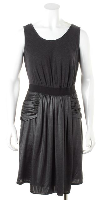 ALEXANDER WANG Gray Two-Tone Ruched Pleated Jersey Sheath Dress