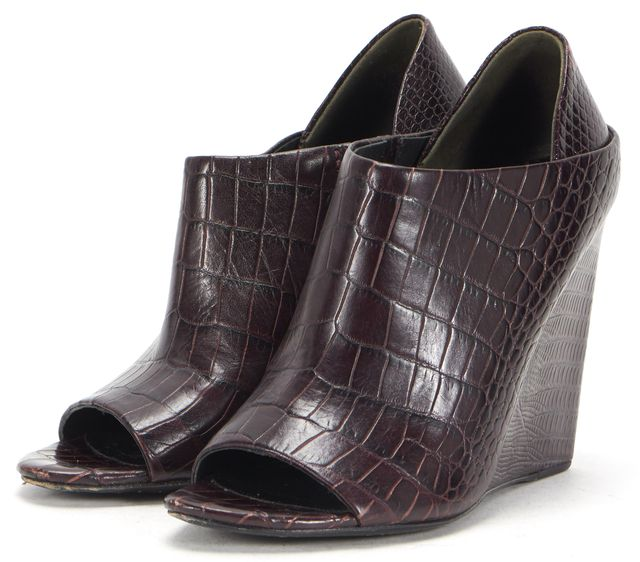 ALEXANDER WANG Dark Burgundy Embossed Leather Open Toe Alla Wedges