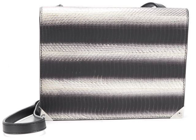 ALEXANDER WANG Black Gray White Painted Snake Embossed Leather Prisma Crossbody