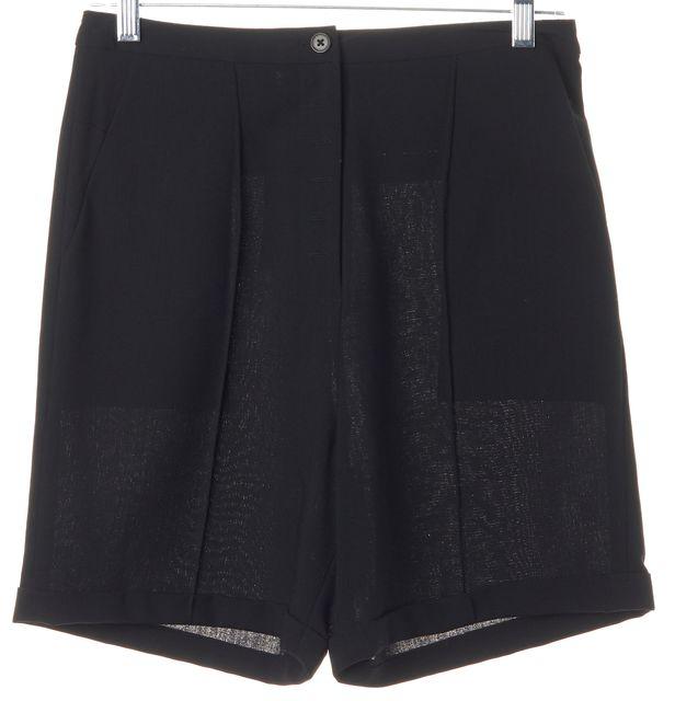 ALEXANDER WANG Black Wool High Waisted Cuffed Dress Shorts