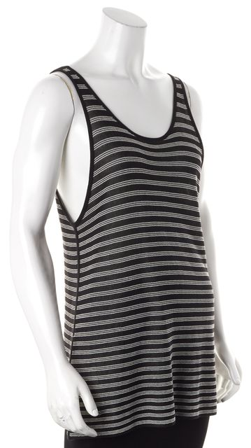 ALEXANDER WANG Black White Striped Scoop Neck Tank Top
