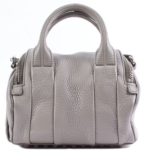 ALEXANDER WANG Cement Pebbled Leather Silver Hardware Rockie Crossbody Satchel
