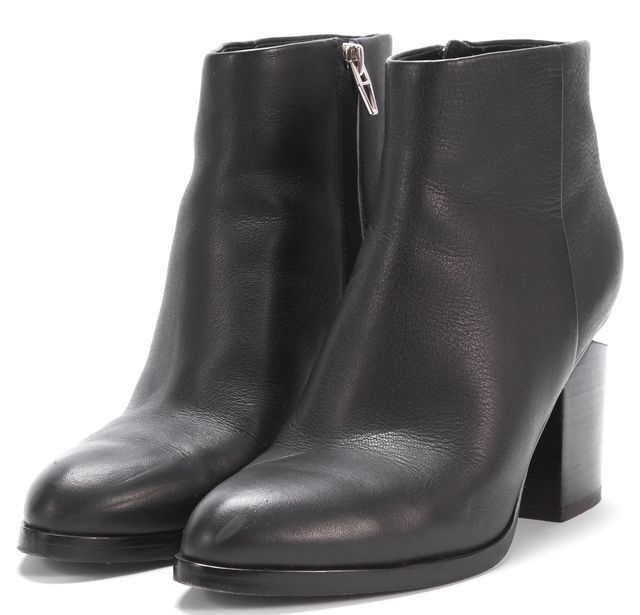 ALEXANDER WANG Black Silver Tone Hardware Leather Gabi Ankle Boots