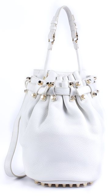 ALEXANDER WANG White Gold Tone Hardware Leather Diego Bucket Shoulder Bag