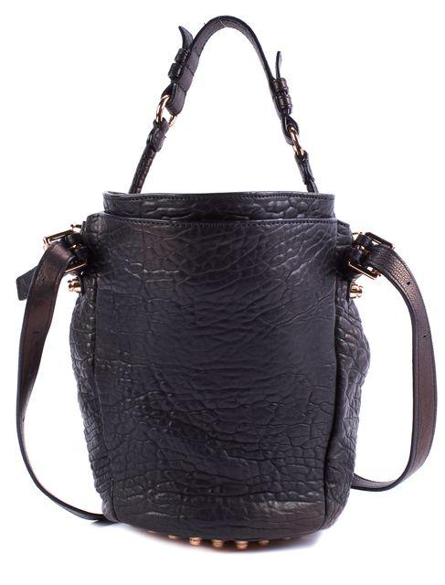 ALEXANDER WANG Black Textured Iridescent Leather Diego Crossbody Bucket Bag