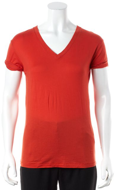 ALEXANDER WANG Red V-Neck Short Sleeve Basic Tee T-Shirt