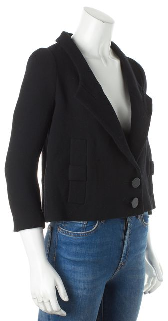 ALEXANDER WANG Black Long Sleeve Wool Cropped Single Breast Peacoat
