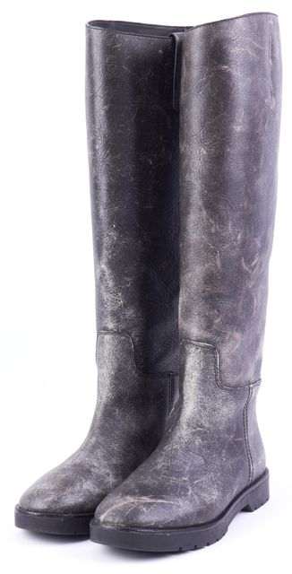 ALEXANDER WANG Black Distressed Leather Knee-high Boot Boots